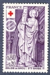Sellos de Europa - Francia -  Esculturas de la Iglesia de Brou, Santa Bárbara