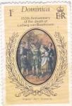 Sellos de America - Dominica -  150 aniversario Ludwij van Beethoven