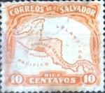 Stamps : America : El_Salvador :  Intercambio hbr 0,20 usd 10 cent. 1924