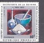 Sellos de Africa - Rwanda -  150 aniversario del descubrimiento de la quinina por Pelletier y Caventou