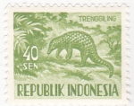 Stamps : Asia : Indonesia :  pangolín