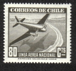 Stamps Chile -  Plane and Caravel