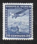 Sellos de America - Chile -  Avión Sobre la Ciudad