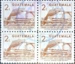 Stamps Guatemala -  Intercambio 0,80 usd 4x2 cents. 1988