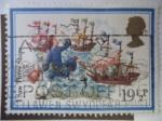 Stamps United Kingdom -  1 Saw Three Ships