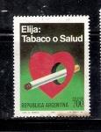 Sellos de America - Argentina -  Elija: Tabaco o Salud