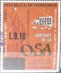 Stamps Honduras -  Intercambio ma4xs 0,20 usd 18 sobre 8 cent. 1975