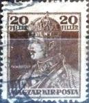 Sellos del Mundo : Europa : Hungría : Intercambio 0,20  usd 20 f. 1918