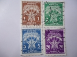 Stamps Europe - Yugoslavia -  Antorchas y Estrellas - F.N.R. Jugoslavija - Porto.