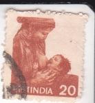 Stamps : Asia : India :  madre amamantando a su hijo