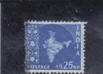 Stamps : Asia : India :  mapa de la India