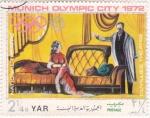 Sellos de Asia - Yemen -  teatro nacional- Munich Olimpiada-72