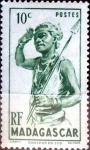 Stamps : Africa : Madagascar :  Intercambio 0,20 usd 10 cent. 1946