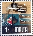 Stamps : Europe : Malta :  Intercambio 0,20 usd 1 cent. 1973