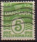 Sellos de Europa - Dinamarca -  DINAMARCA 1986 Scott 793 Sello Líneas onduladas y numero Usado