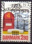 Stamps Denmark -  DINAMARCA 1986 Scott 822 Sello Buzón de Correos y Línea de Teléfonos Usado