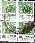 Stamps Mexico -  Intercambio 0,80 usd 4 x 80 cent. 1975