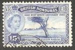 Stamps : America : Belize :  Honduras Británica - 161 - Centº del sello inglés, Elizaberth II, y tamarindo