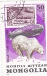 Sellos del Mundo : Asia : Mongolia :  sobrevuelo sobre el ártico en zeppelin