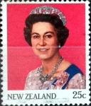 Stamps New Zealand -  Intercambio 0,20 usd 25 cent. 1985