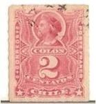 Stamps Chile -  Colon 2c. ruleteado -  CUÑOS MODIFICADOS