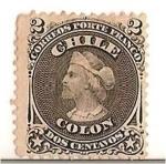Sellos de America - Chile -  Colon / 1867 PRIMERA DENTADA