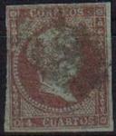 Stamps Spain -  ESPAÑA 1855 40 Sello Isabel II 4c Usado