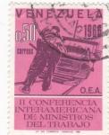 Sellos de America - Venezuela -  II conferencia interamericana de ministros del trabajo