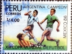 Stamps : America : Peru :  Intercambio 0,35 usd 4 intis 1987