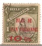 Stamps Chile -  Colon / ISLAS DE JUAN FERNANDEZ / sobrestampado