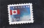 Sellos de America - Canadá -  bandera canadiense y edificio