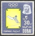Stamps United Arab Emirates -  Dubai - 50 - Olimpiadas de Tokyo, Gimnasia
