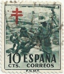 Stamps of the world : Spain :  PRO-TUBERCULOSIS. NIÑOS EN LA PLAYA, DE SOROLLA. VALOR FACIAL 10 Cts. EDIFIL 1104