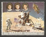 Stamps : Asia : United_Arab_Emirates :  Manama - Apolo XV, Tripulación: Scott, Worden e Irwin