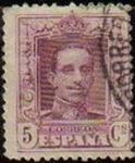 Sellos de Europa - España -  ESPAÑA 1922 311 Sello Alfonso XIII 5c. Tipo Vaquer Usado nº control al dorso