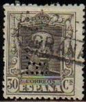 Sellos de Europa - España -  ESPAÑA 1922 318 Sello Alfonso XIII 30c. Tipo Vaquer Usado nº control al dorso