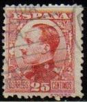 Stamps Spain -  ESPAÑA 1930 495 Sello Alfonso XIII 25c. Tipo vaquer de perfil Usado con nº control al dorso