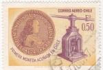 Stamps Chile -  primera moneda acuñada en Chile