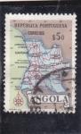 Sellos de Africa - Angola -  mapa