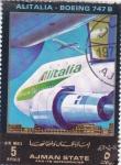Stamps United Arab Emirates -  avion-Boeing 747 B Alitalia