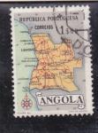 Stamps Angola -  mapa