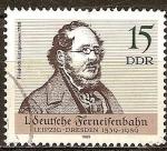 Sellos de Europa - Alemania -  1. ferroviario alemán de larga distancia, Leipzig-Dresde 1839-1989,Friedrich List (DDR).