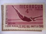 Stamps Nicaragua -  X Serie Mundial de Base-Ball Amateur 1948 - Moderno Estadio Nacional-Natación.