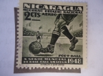 Stamps Nicaragua -  X Serie Mundial de Base-Ball Amateur 1948 - Moderno Estadio Nacional-Foot-Ball