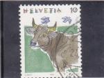 Stamps Switzerland -  dibujo de una vaca