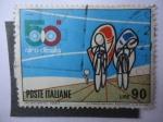 Stamps Italy -  Giro de Italia - Ciclista en el Sprint - Poste Italiane