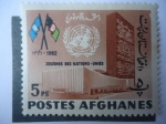 Sellos de Asia - Afganistán -  Día de las Naciones Unidas - sede de la Unión de Naciones en NY- Indicadores ONU.