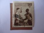 Stamps Poland -  Tres Modalidades de Atletas-II Juegos Infantiles - II Miedzynarodowe Igrzyska Sportowe Mtodziezy 195