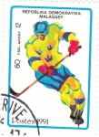 Sellos de Africa - Madagascar -  jockey sobre hielo