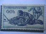 Stamps Czechoslovakia -  Campeonato Mundial  de Hocky Sobre Hielo 1959.